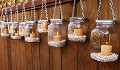 lanterna de potes de vidro reciclado