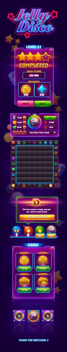 Jelly Disco game GUI on Behance