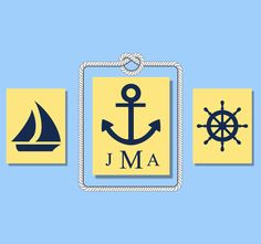 Nautical Nursery Wall Art  3 Stretched Canvas Personalized. $79.95, via Etsy.