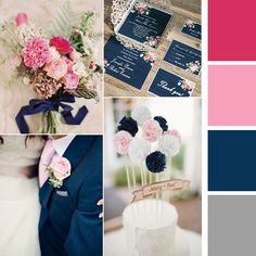 Pink, rouge, navy blue, and silver grey would be my favorite color palette for my wedding!!  navy blue floral silver laser cut invitations EWWS090