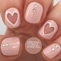 Simple And Easy Valentine Nail Art Designs Fancy Nails, Love Nails, Diy Nails, How To Do Nails, Pretty Nails, Negative Space Nails, Valentine Nail Art, Nails First, Manicure Y Pedicure