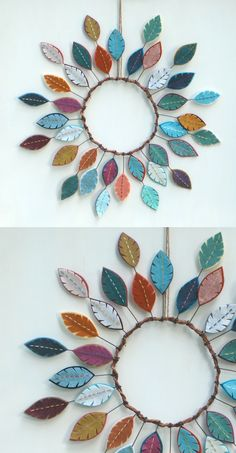 Felt Feather Wreath We all love burning flowers, don't we?, Felt Feather Wreath We all love burning flowers, don't we? You don't know where to decorate with these beautiful flowers that we can easily make from . Diy Projects To Try, Crafts To Do, Clay Crafts, Felt Crafts, Fabric Crafts, Sewing Projects, Arts And Crafts, Feather Wreath, Felt Wreath