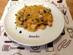 Κριθαρότο με θαλασσινά Risotto, Curry, Chicken, Meat, Ethnic Recipes, Food, Curries, Hoods, Meals