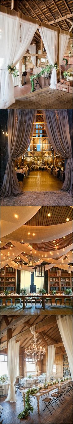 Rustic barn wedding reception space with draped fabric decor #wedding #weddingideas #barnwedding