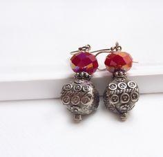 Silver Bali Red Beaded Earrings