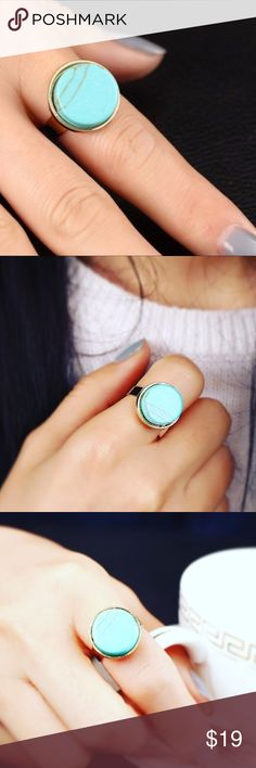 Turquoise Festival Ring zinc alloy, faux turquoise and high polished gold band set the mood for a beautifully design look, adjustable band to fit any finger size 4-14 Jewelry Rings