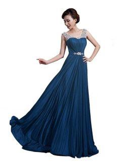 Amazon.com: DLFashion Scoop Neck Sweep Train Beaded Chiffon Prom Dress XS-0 Navy: Clothing