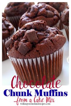 How to make the best chocolate chunk muffins from a cake mix. They're the perfect excuse for eating chocolate for breakfast!