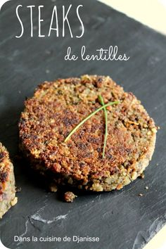 Lentil Steaks for Burger, Gluten Free - In Djanisse's {vegan} cuisine - Recette - Raw Food Recipes Raw Food Recipes, Veggie Recipes, Vegetarian Recipes, Cooking Recipes, Healthy Recipes, Sans Gluten Vegan, Going Vegan, Diy Food, Healthy Cooking