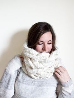 f3c5e58e056 Oversized Cowl Chunky Cable Knit Scarf Natural by Songbyrdy Cable Knit,  Cowl, Ravelry,