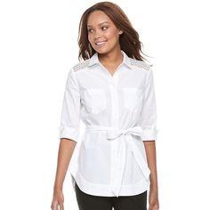 Petite Dana Buchman Tie Waist Shirt ($37) ❤ liked on Polyvore featuring tops, petite, white, petite white shirt, white top, white peplum shirt, lace peplum top and white 3 4 sleeve top