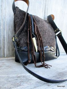 Black Leather and Brown Furry Suede Small Cross Body by stacyleigh