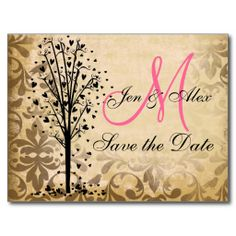 Monogram Damask Heart Tree Save the Date Cards Post Card