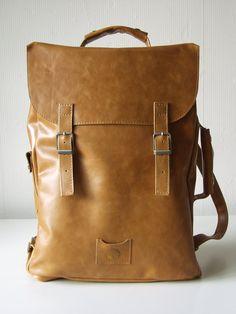 In stock / Large leather back pack rucksack handmade. $169.00, via Etsy.