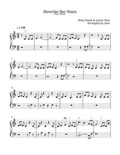 Print and download Rewrite the Stars. Some of my early beginner students wanted to play the Greatest Showman Music. I couldn't find anything easy online so I made one up myself. Enjoy :)