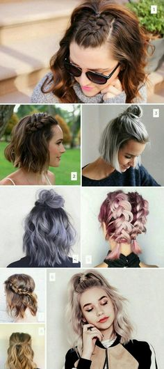 Short hair simple hairstyles inspiration. Buns, braids, twists, messy