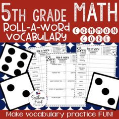 Make math vocabulary practice fun by rolling the die! #fifthgrade #commoncore #math #vocabulary #mathvocabulary #fun