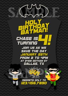 Batman and Robin Inspired Super Hero Birthday Party Invitation with