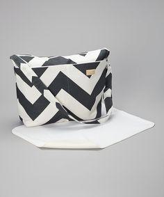 Foxy Vida Charcoal Zigzag Diaper Bag & Changing Pad