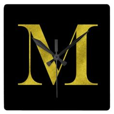 M Engravers Monogram Gold Faux Glitter Template Square Wall Clock