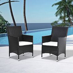 outsunny 2 pc outdoor rattan armchair dining chair garden patio furniture w armrests cushions deep