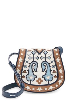 ecaa6ff8be0 Tory Burch Patchwork Leather Saddle Bag available at