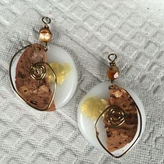 #earrings made out of #corks and #caps from #water #bottle #jewelry #recycled #material #arts #crafts www.marimartscrafts.com