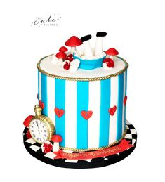 Alice in wonderland cake. Call or email to order your celebration cake today. Disney Themed Cakes, Alice In Wonderland Cakes, Cakes Today, Cake Decorating Tips, Celebration Cakes, Disney Inspired, Custom Cakes, Fondant, Birthday Cake