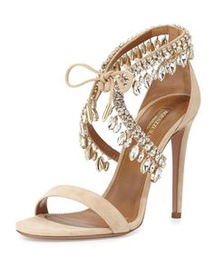 Milla Jeweled Suede Sandal, Nude by Aquazzura at Neiman Marcus.