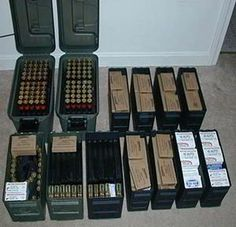 How And Where To Store Ammo - Ask a Prepper If and when the SHTF you won't have time to buy ammunition. In 2012 in the face of pending gun control ammunition dried up for over a year. Survival Weapons, Weapons Guns, Guns And Ammo, Survival Skills, Survival Prepping, Ammo Storage, Weapon Storage, Reloading Room, Gun Rooms