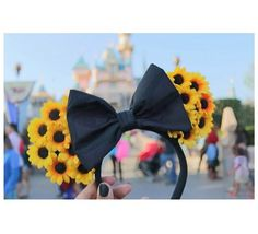 Handmade floral ears Yellow sunflowers Plain black bow One size fits all Xoxo <3