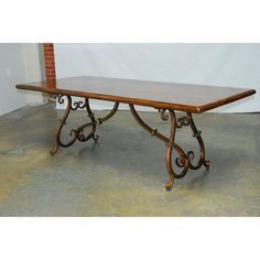 Image of Spanish Colonial Wrought Iron Trestle Table Iron Furniture, Sofa Furniture, Dining Room Furniture, Spanish Colonial Kitchen, Wrought Iron Chandeliers, Trestle Dining Tables, Hacienda Style, Iron Work, Spanish Style