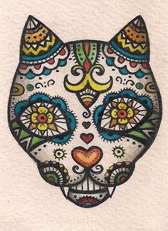 ACEO - Dia de Muertos Cat (Day of the Dead) Folk Art - Original Art