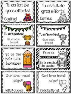 Petits certificats de reconnaissance by Annie Barrette French Teaching Resources, Teaching French, Classroom Organization, Classroom Management, French Flashcards, French Education, Core French, French Classroom, Kindergarten Lesson Plans