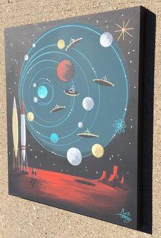 El Gato Gomez Painting Retro 1950's Sci Fi Pulp Outer Space Robot Martian UFO | eBay