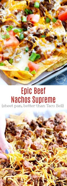 You need to make this epic beef nachos supreme at your next game day. Seasoned ground beef, refried beans, cheese, tomatoes and green onions. #nachos #sheetpan APinchOfHealthy.com Nacho Salad, Nacho Taco, Nacho Dip, Mexican Nachos, Ground Beef Nachos, Ground Turkey Nachos Recipe, Nacho Recipes, Beef Recipes, Mexican Food Recipes