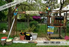 Old Swing Set Turned Garden
