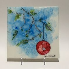 Alcohol Ink Christmas Ornament, Watercolor of Red Ornament, Mixed Media of Christmas Tree Ornament, Christmas Ornament Tile, 6 x 6, OOAK by YakiArtist on Etsy