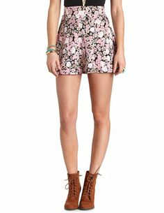 Floral Print High-Waisted Skater Skirt: Charlotte Russe