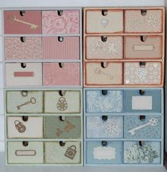 Tiny Treasures - great idea for shabby chic-in plain wooden storage boxes. Sheets of scrapbooking paper and quirky embellishments.  Perfect! Thanks Debbie