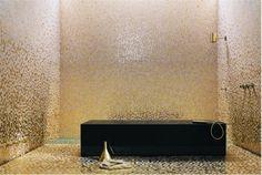 Shower. love the gold tile!