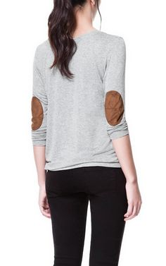 Zara - Loose Knit T-Shirt with Elbow Patches (Marl Grey), $25.90