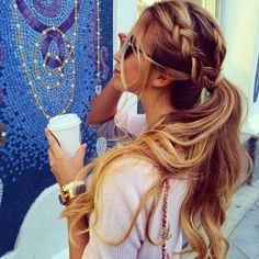 Crown braid ponytails.