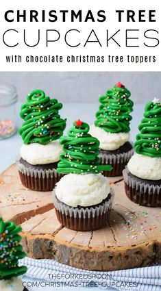 These Chocolate Christmas Tree Cupcakes are the cutest and most festive cupcakes ever! Made with chocolate cake mix and homemade vanilla buttercream frosting, these delicious Christmas Tree Cupcakes are almost too pretty to eat.