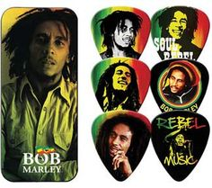 If music is your life, you need these classic Bob Marley guitar picks and complimentary Bob Marley Rasta Guitar Picks TIn.