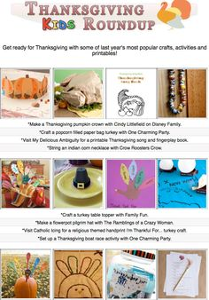16 free diy Thanksgiving craft tutorials, diy projects, crafty recipes and printables for kids!