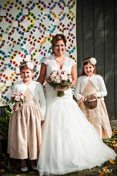 Bride and Girls Pictures - Flower Girls - Daughter of the Bride Photos - Quilt Theme Wedding - Country Photo Booth - Outdoor Photo Booth - Country Chich - Country Rustic Wedding - Farm wedding - Rustic Theme - Fall Flowers - Bouquet - Country Wedding - Rustic Ideas - Knoxville TN Flowers - Florist Knoxville TN - Fall Flowers - Bridal Bouquet - Blush - Pink - Peach - Ivory - www.lisafosterdesign.com