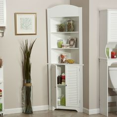 Is Bathroom Corner Storage Cabinet Any Good? 5 Ways You Can Be Certain - Bathroom Linen Tower Corner Storage Cabinet with 5 Open Shelves in White Bathroom Corner Storage Cabinet, Storage Cabinets, Tall Cabinet Storage, Bathroom Cabinets, Linen Cabinet, Storage Rack, Bathroom Trays, Paint Bathroom, Bathroom Drawers