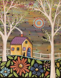 Spring Eve 11x14 ORIGINAL CANVAS PAINTING flowers FOLK ART PRIM Karla Gerard #FolkArtAbstractPrimitive