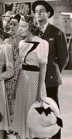 1939 40s Fashion, Vintage Fashion, Womens Fashion, Chiffon Dress, Peplum Dress, A Level Textiles, 40s Style, Barbara Stanwyck, Golden Days